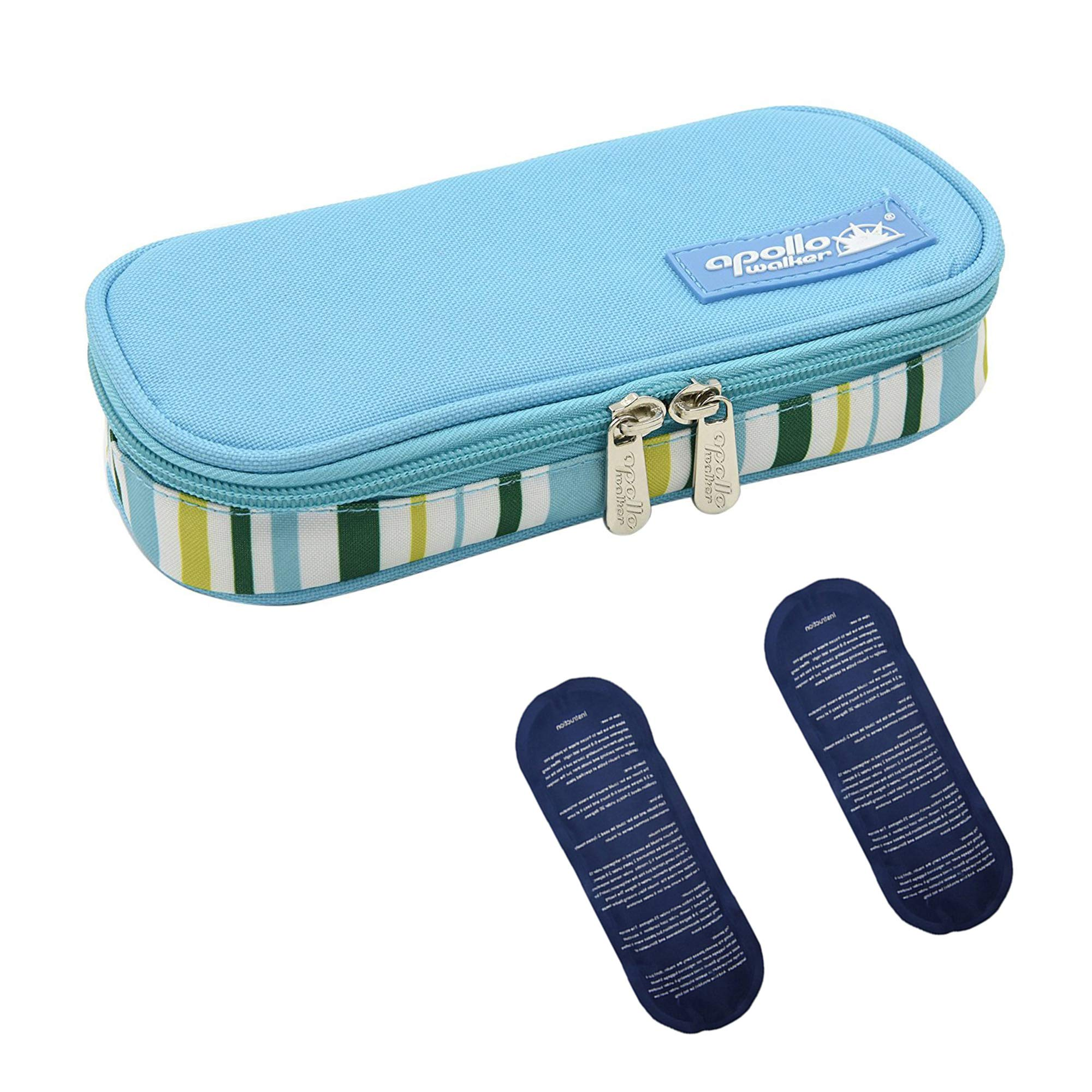 Apollo walker Insulin Cooler Travel Case Diabetic Medication Cooler with 2 Ice Pack and Insulation Liner(Light Blue)