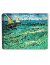 DECORARTS - Fishing Boats at Sea, Vincent Van Gogh Art Reproduction. Giclee Canvas Prints Wall Art for Home Decor 20x16
