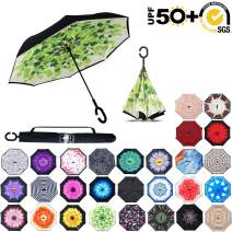 ABCCANOPY Inverted Umbrella,Double Layer Reverse Rain&Wind Teflon Repellent Umbrella for Car and Outdoor Use, Windproof UPF 50+ Big Straight Umbrella with C-Shaped Handle,green leaves