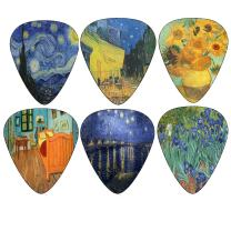 Vincent Van Gogh Guitar Picks - Celluloid Medium 12 Pack - Starry Night Sunflowers Cafe - Best Stocking Stuffer Gifts for Men Women Guitarist Accessories