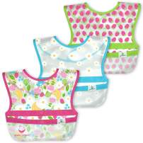 green sprouts Snap & Go Wipe-Off Bibs (3 Pk) | Waterproof Protection for Messy Eaters | Neatly Rolls Up for Mess & Utensil Storage, Flipped Pocket Stays Extended to Catch Spills, Easy Clean, Pink