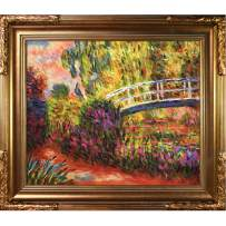 Hand-Painted Reproduction of Claude Monet The Japanese Bridge Framed Oil Painting, 20 x 24