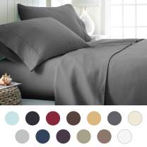 ienjoy Home Hotel Collection Luxury Soft Brushed Bed Sheet Set, Hypoallergenic, Deep Pocket, Twin X-Large, Gray