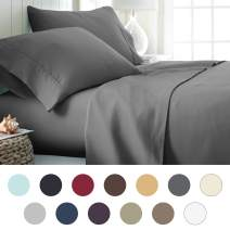 ienjoy Home Hotel Collection Luxury Soft Brushed Bed Sheet Set, Hypoallergenic, Deep Pocket, Twin, Gray
