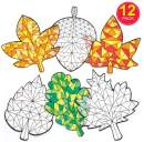 Baker Ross Autumn Color-in Window Decoration Kit / Kids Thanksgiving Arts and Crafts Project / Pack of 12 Fall Leaves and Acorns