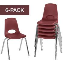"""FDP 16"""" School Stack Chair,Stacking Student Seat with Chromed Steel Legs and Nylon Swivel Glides; for in-Home Learning or Classroom - Burgundy (6-Pack)"""