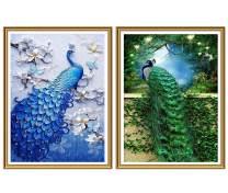 Yomiie 5D Diamond Painting Emeralds & Sapphires Peacock Full Drill by Number Kits, DIY DirdofJuno Paint with Diamonds ArtCouple Bird Rhinestone Embroidery Decor (12x16inch, 2 Pack) a191