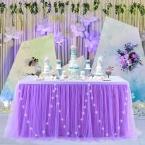 9ft LED Purple Table Skirt Tulle Table Skirts for Rectangle Tables Tulle Table Cloth Tutu Table Skirt Decoration for Baby Shower Girls Wedding Mermaid Birthday Party&Home Decorations(L9(ft) H 30in)