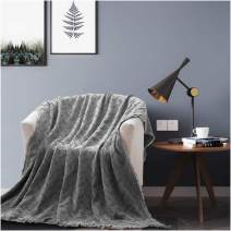 KASENTEX Cozy Soft 100% Cotton Stone-Washed All Season Decorative Throw Blanket Knitted with Fringes for Couch, Sofa, Bed, Wrap-Around, Indoor/Outdoor(Grey, 60x50in, Knitted Crosshatch Design)