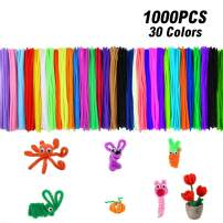 Pipe Cleaners, 1000 Pcs Pipe Cleaners Crafts Chenille Stems for Kids DIY Arts,Teacher Creative Crafts Projects & Women Home/Office Decorations, 6mm x 12inch, 30 Assorted Rainbow Colors, Colors Random