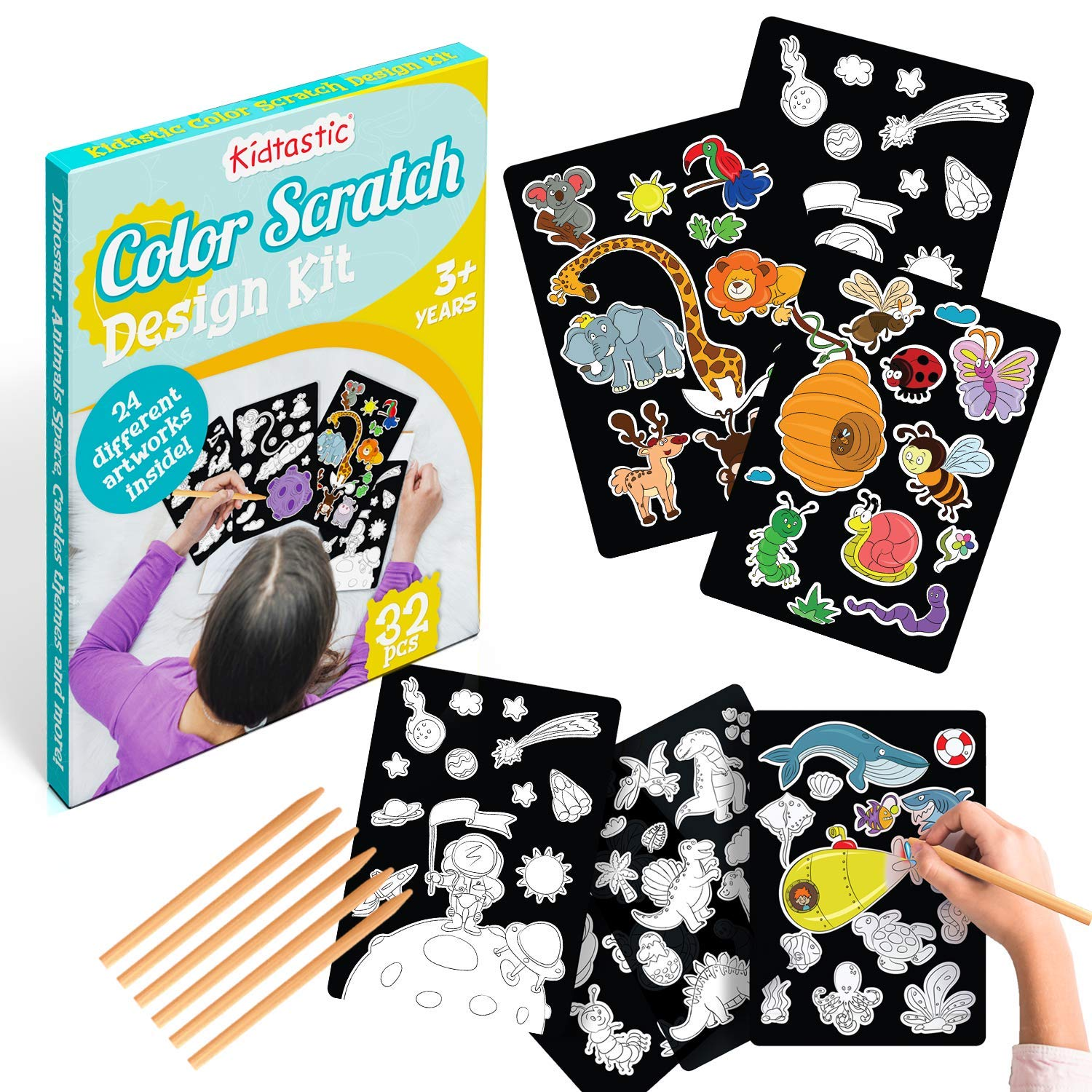 Kidtastic Scratch Art 24 Original Full Color Illustrations - 30 Piece Rainbow Scratch Pads which Dinosaur, Animals & Castle Designs, Birthday Gifts for Girls Ages 3 and Up