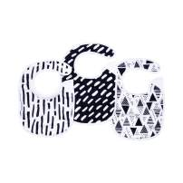 Tiny Twinkle Feeder Bib 3 Pack - Black and White Set - Absorbent and Waterproof Baby Bib