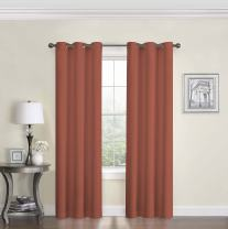 "ECLIPSE Microfiber Thermal Insulated Single Panel Grommet Top Darkening Curtains for Living Room, 42"" x 63"", Brick"