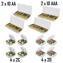 Whizzotech AA AAA C D Battery Storage Case Holder Organizer Box (2AA + 2AAA + 4C + 4D)