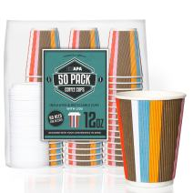 50 Pack - 12 oz To Go Coffee Cups with Lids - Disposable, Insulated & Recyclable Multicolor Ripple Paper Coffee Cups