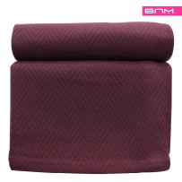 Cotton Blanket, Soft & Cozy, Woven, All-Season Throw, Breathable, Medium Weight, Picnic, Beach, Traveling, Camping, Thermal Blanket, Herringbone Pattern, Twin, Plum