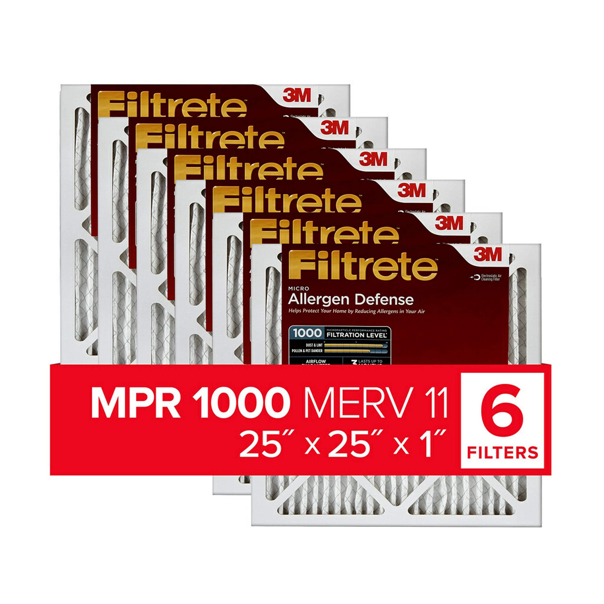 Filtrete 25x25x1, AC Furnace Air Filter, MPR 1000, Micro Allergen Defense, 6-Pack
