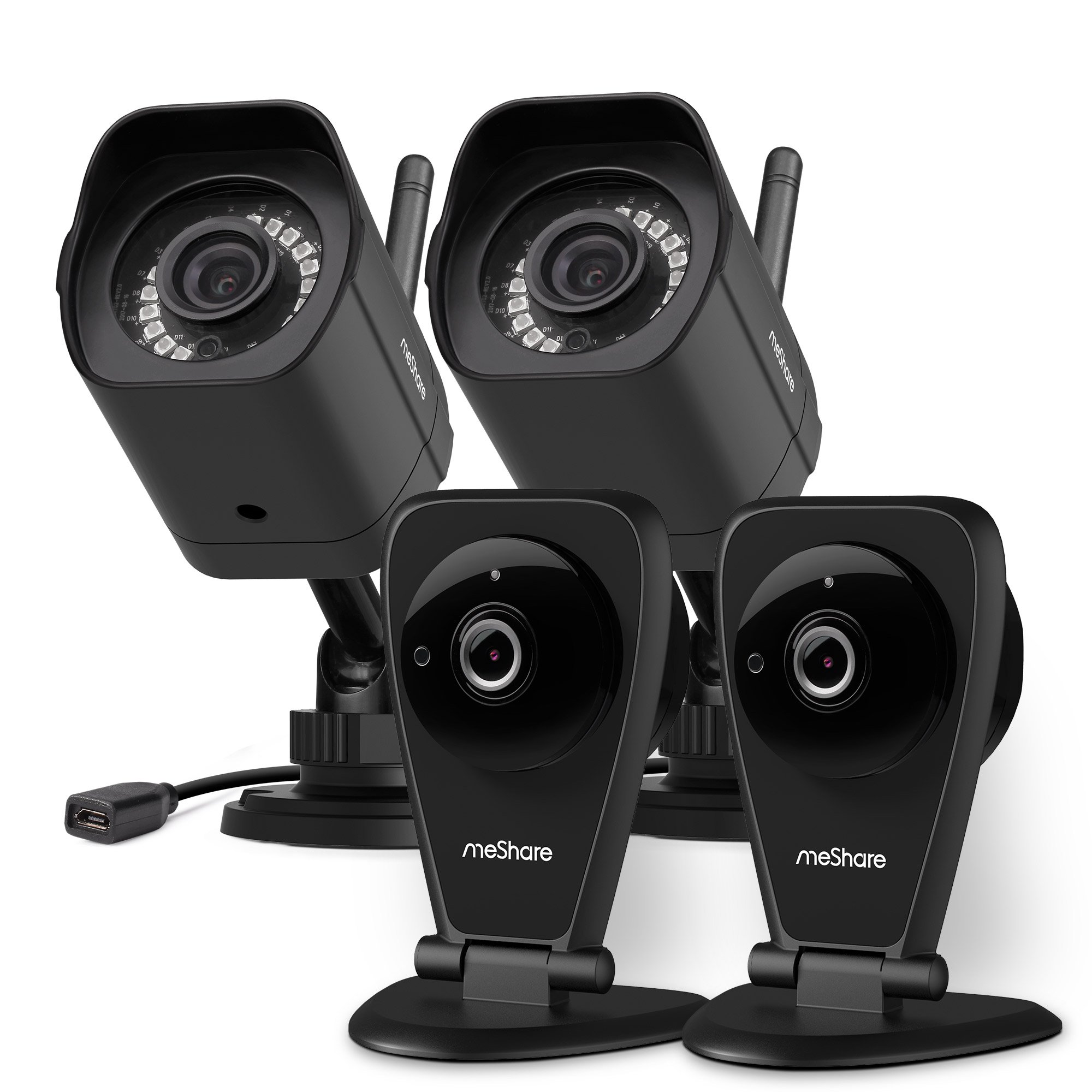 meShare 1080p Full HD Indoor Outdoor Wireless Security Camera System with Smart Motion Alerts, Night Vision, Works with Alexa