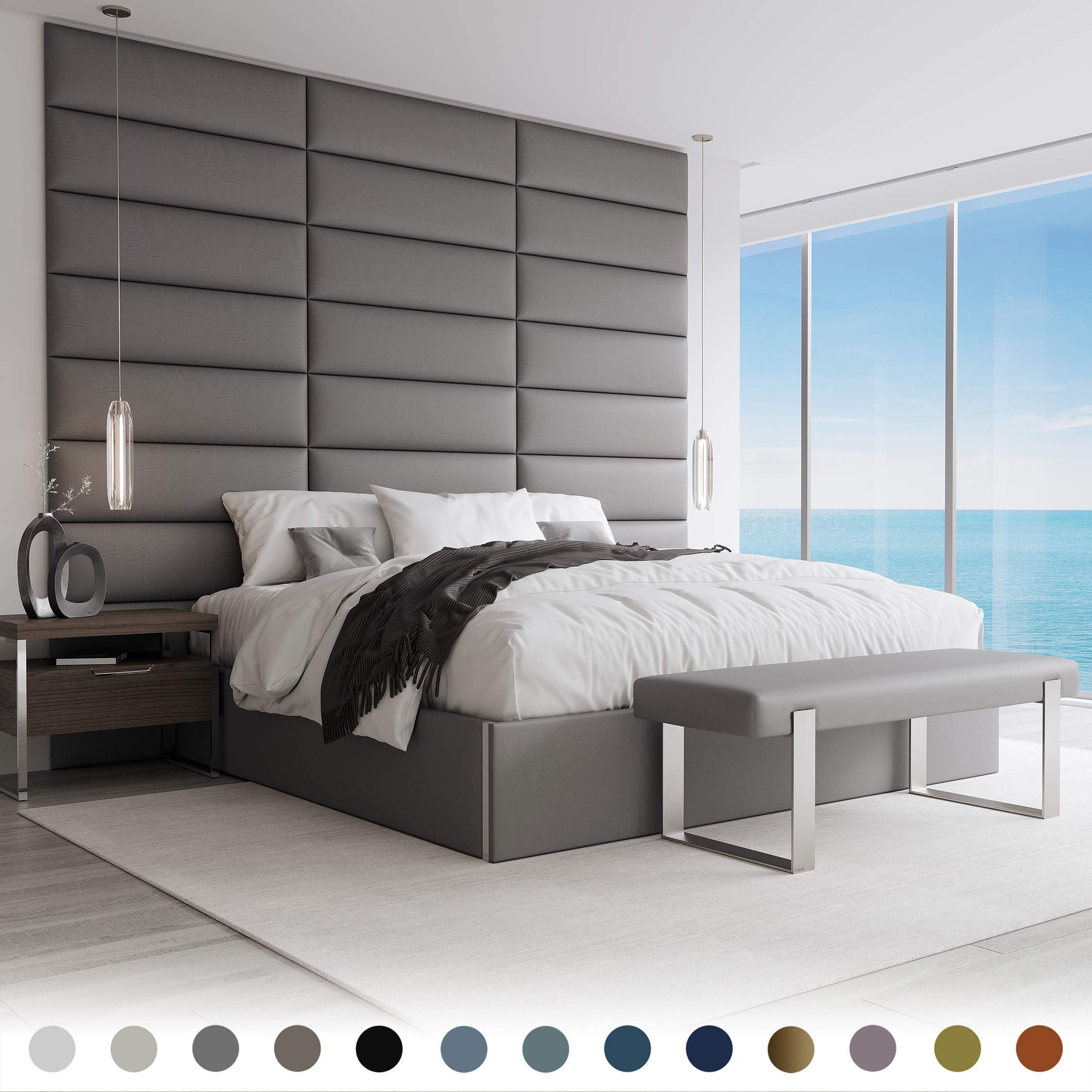 """Vänt Upholstered Wall Panels - Queen/Full Size Wall Mounted Headboards- Vintage Leather Gray Pewter - Pack of 4 Panels (Each Individual Panel 30""""x11.5"""")"""