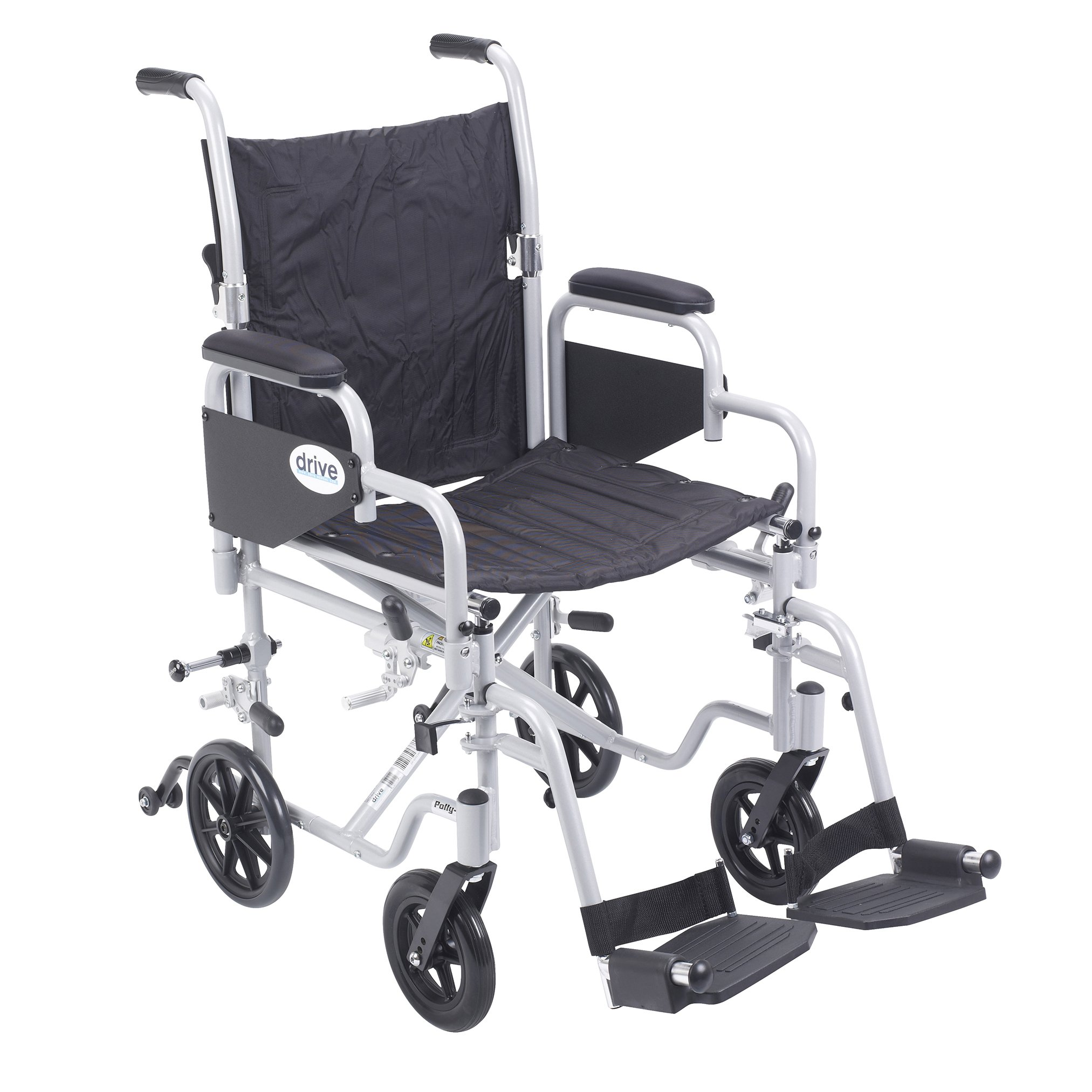 Drive Medical Poly Fly Light Weight Transport Chair Wheelchair with Swing-Away Footrest, Silver, 18""