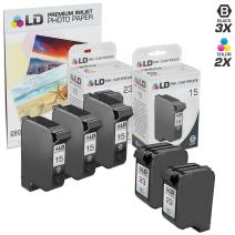 LD Products Remanufactured Toner Cartridge Replacement for HP C6615DN C1823D ( 3 Black, 2 Tri-color , 5pk )  + Free 20 Pack of LD Brand 4x6 Photo Paper by 4inkjets/LD