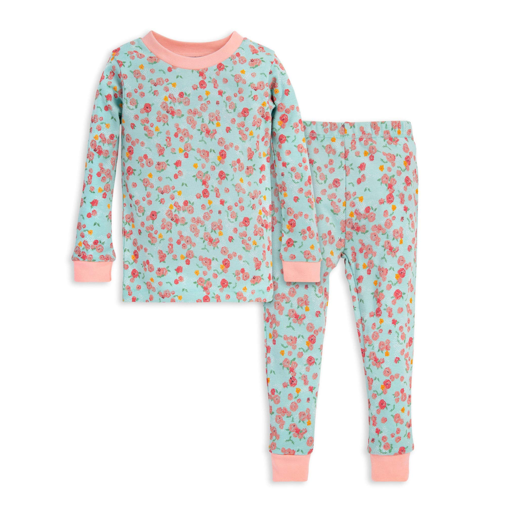 Burt's Bees Baby Baby Girls' Little Kids Pajamas, Tee and Pant 2-Piece PJ Set, 100% Organic Cotton, Blue Ditsy Floral, 5 Years