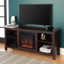 Walker Edison Wren Classic 4 Cubby Fireplace TV Stand for TVs up to 65 Inches, 58 Inch, Espresso
