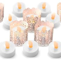 Frux Home and Yard 24 Flameless Flickering LED Tea Light Battery Operated Candles, Holders and Silver Decorative Votive Wraps Included