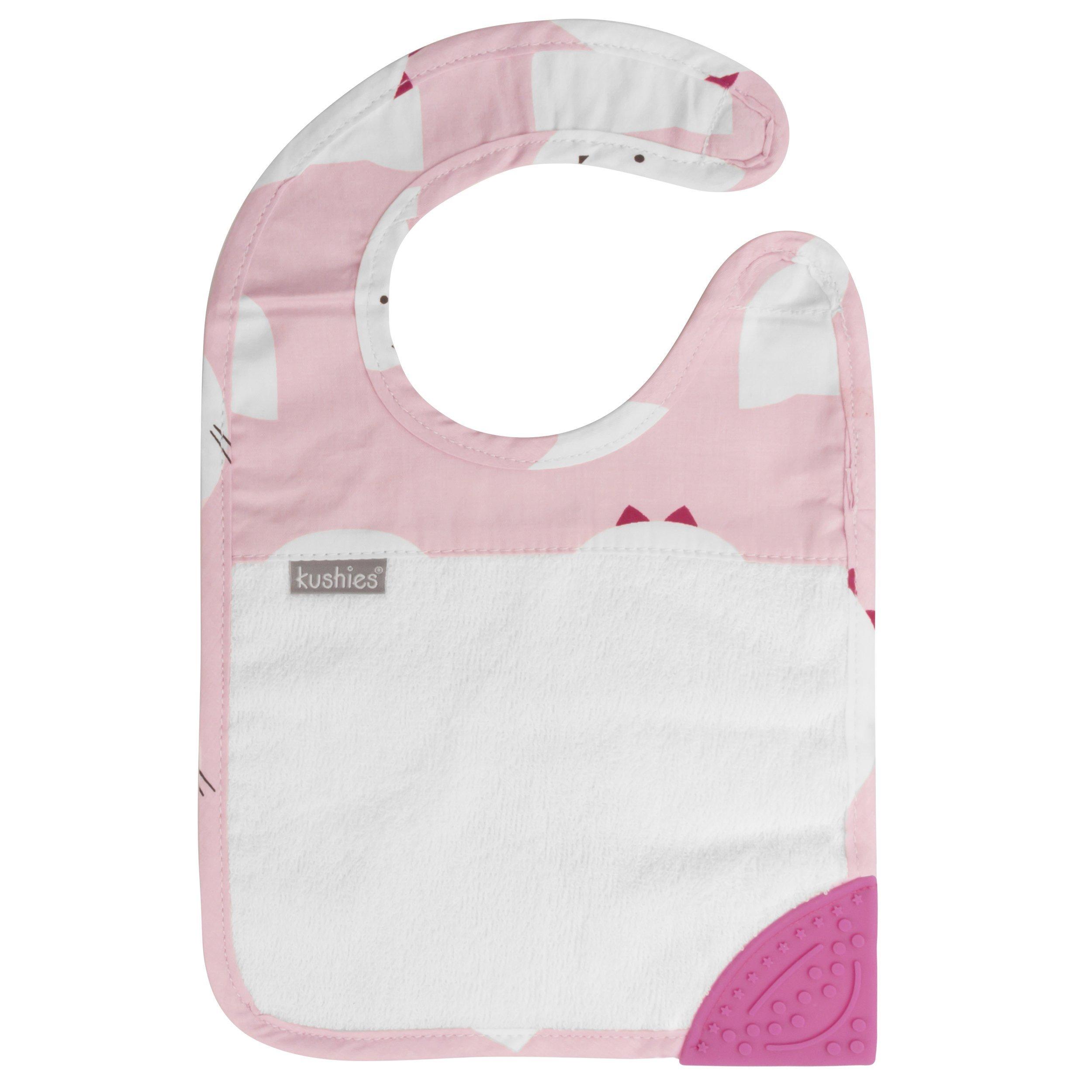 Kushies Silidrool Absorbent Terry Baby/Toodler Feeding & Teething Bib with BPA Free Silicone Teether, White/Pink