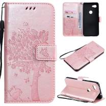 Cmeka 3D Cat Tree Flower Butterfly Wallet Case for Google Pixel 3a XL Slim Flip Leather Protective Case Magnetic Closure Credit Card Slots Holder Kickstand Function Rose Glod