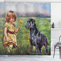 "Ambesonne Country Shower Curtain, Paint of a Little Girl Her Tiny Flower Dog in The Meadow Pastoral Artwork, Cloth Fabric Bathroom Decor Set with Hooks, 75"" Long, Grey Green"