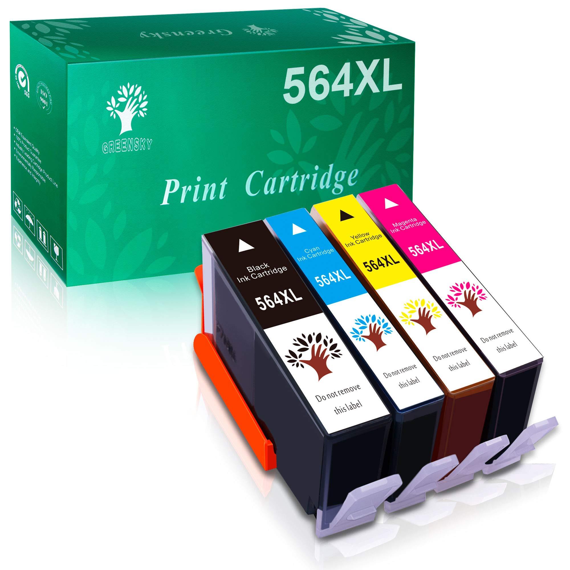 GREENSKY Compatible Ink Cartridges Replacement for HP 564XL for HP DeskJet 3520 3522 OfficeJet 4620 PhotoSmart 5510 5514 5520 6520 6525 7510 7520 7525 C309a C410a C5370 C5380 C6380 Printer, 4 Packs
