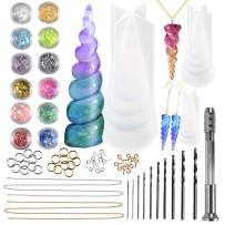 FUNSHOWCASE Unicorn Horn Resin Molds Jewelry Casting Kits 3 Silicone Trays 65 Findings, Soap Candle Concrete and More