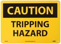 "NMC C404AB OSHA Sign, Legend ""CAUTION - TRIPPING HAZARD"", 14"" Length x 10"" Height, Aluminum, Black on Yellow"
