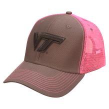 Ouray Sportswear NCAA Virginia Tech Hokies Sideline Cap, Dark Grey/Neon Pink