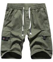 APTRO Cotton Cargo Shorts Elastic Waistband Relaxed Fit Summer Casual Shorts with Drawstring