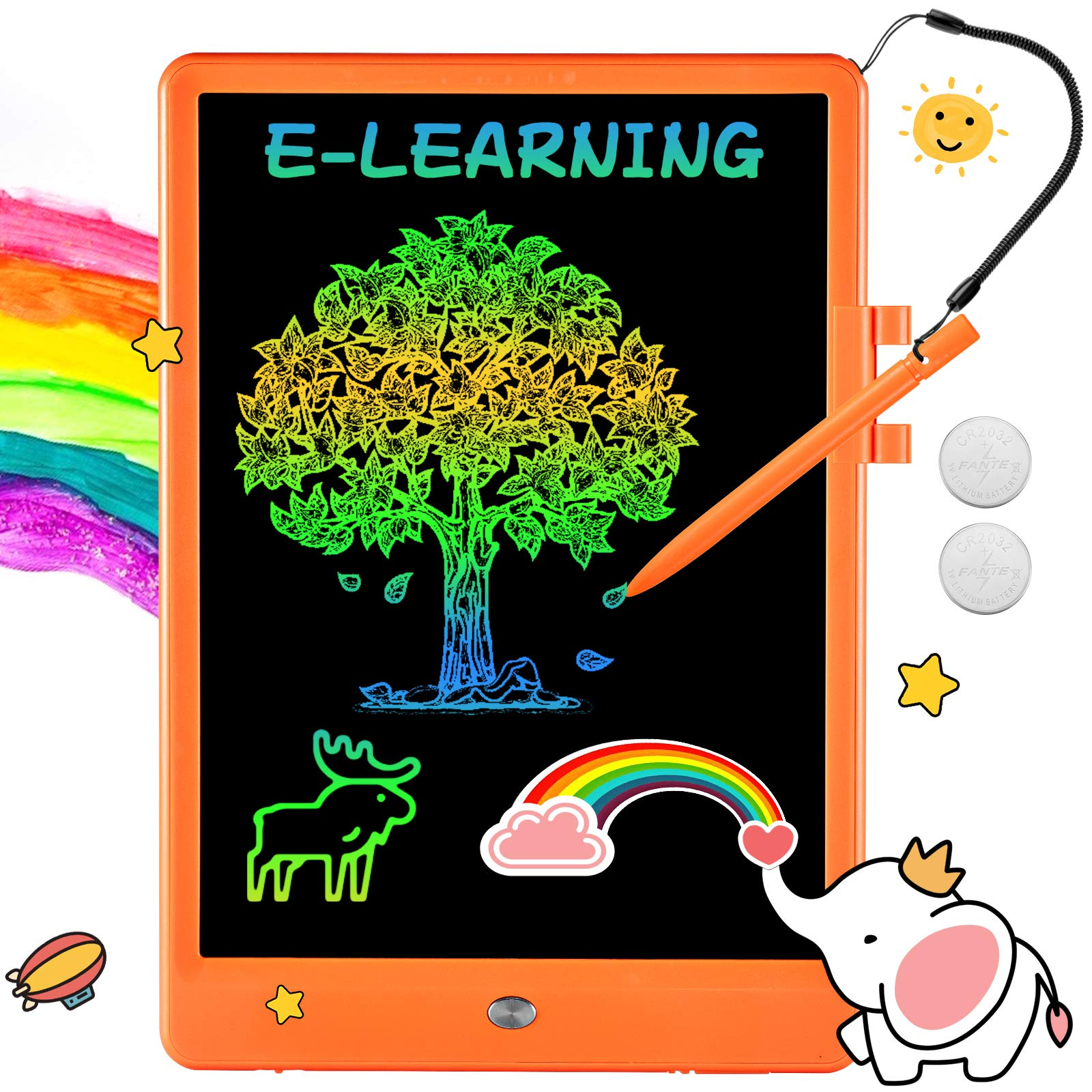 Fyinuosu Writing Tablet 10 Inch Drawing Pad, Colorful Screen Doodle Board for Kids, Girls Gifts Toys for 3 4 5 6 7 8 9 10 Year Old Girls and Boys (Orange)