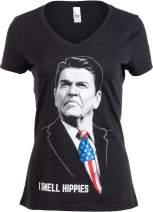 I Smell Hippies | Funny Ronald Reagan Conservative Merica USA Women Top T-Shirt