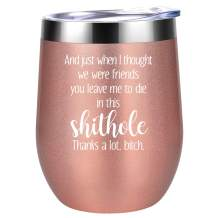 Going Away Gift for Coworker, Coworker Leaving Gifts for Women - You Leave Me to Die in This Shithole - New Job, Farewell Goodbye Gifts for Coworker, Colleague, Boss, Friends - Coolife Wine Tumbler