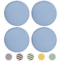 Chair Seat Cushion Pads with Ties for Kitchen Set of 4 Non Slip Round Seat Pads for Dining Chairs High Stool Chairs Bistro Bar Seat 13 x 13 Inch, Blue Stripe