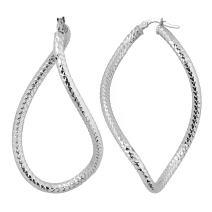 Kooljewelry 14k White Gold Bold Hoop Earrings, 2 inch
