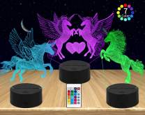 AMWGIMI 3PCS Night Light for Kids—3D Illusion Unicorn Night Lamp Three Pattern and 7 Colors Change Decor Lamp with Remote Control for Kids Best Gifts