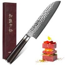 HEZHEN 7 Inch Santoku Knife Japanese High Carbon VG-10 Damascus Stainless Steel Chef's Kitchen Knife Razor Sharp with Ebony Wood Handle - Classic Series (Santoku Knife)