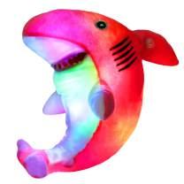 Bstaofy LED Pink Shark Stuffed Animal Glow Plush Ocean Species Toy Light up Afraid of Dark Birthday for Kids, 10 Inches