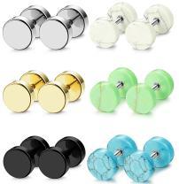 FIBO STEEL 6 Pairs Stud Earrings for Men Women Gauge Earrings Ear Piercing Plugs Tunnel 18G