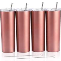 4 Pack Classic Tumbler Stainless Steel Double-Insulated Water Tumbler Cup with Lid and Straw Vacuum Travel Mug Gift with Cleaning Brush (Rose Gold, 20 oz)