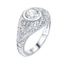 [2-5 Days Delivery] Women's Sterling Silver .925 Cubic Zirconia Engagement Ring, Engraved Design, Vintage Inspired, Platinum Plated Jewelry