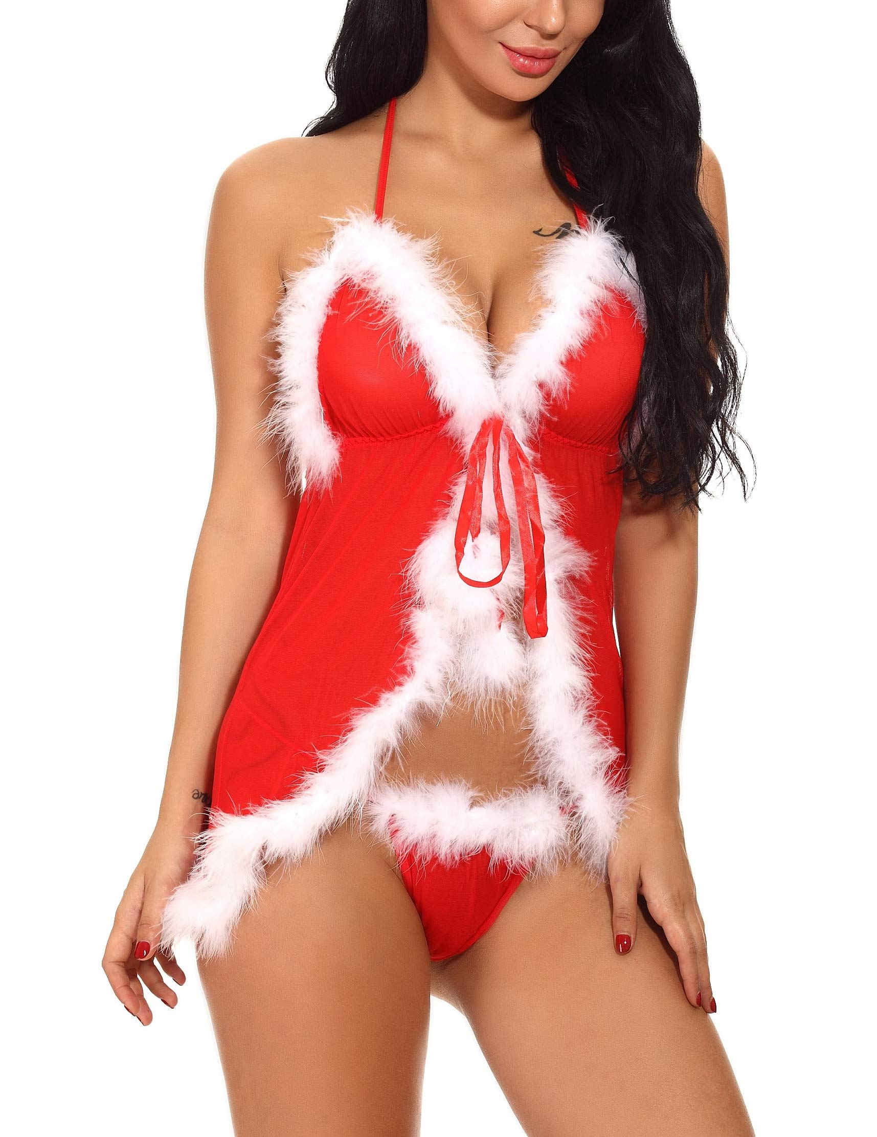 Bivan Women Christmas Lingerie Set Lace Babydoll Chemise Naughty Santa Outfits