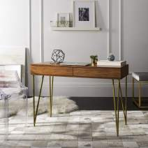 Safavieh Home Office Pine Modern Natural and Gold 2-drawer Desk