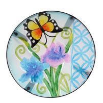 Joveco Hand Painted Multicolor Accent Glass Top Round Side Table Plant Stand (Butterfly III Foldable)